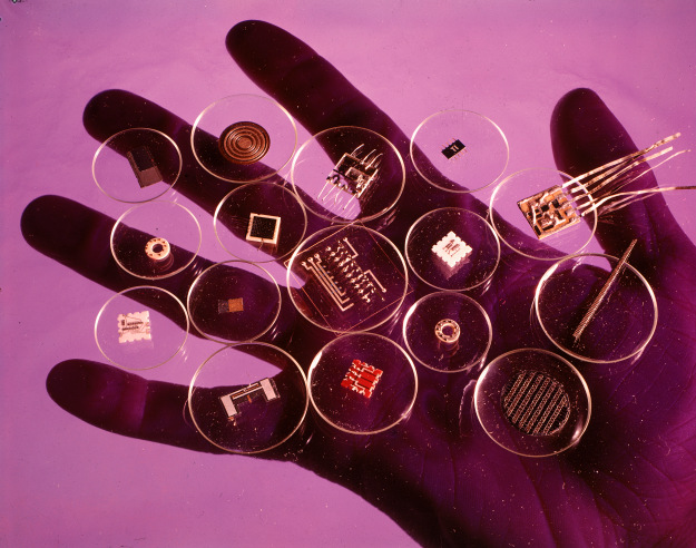 Handful of microelectronic parts.