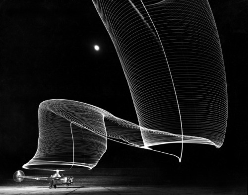The Light Trail Of A Helicopter