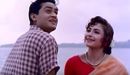 Joy Mukherjee, in second lead, and Helen, in a rare break away from her 'cabaret dancer' roles, in Hum Hindustani (1960)